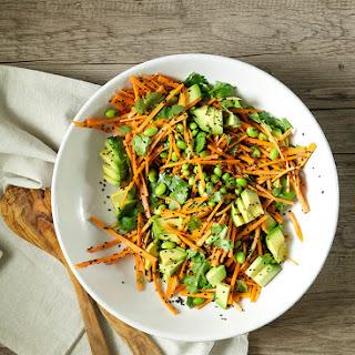 Ginger, Citrus + Black Sesame Carrots W/ Edamame