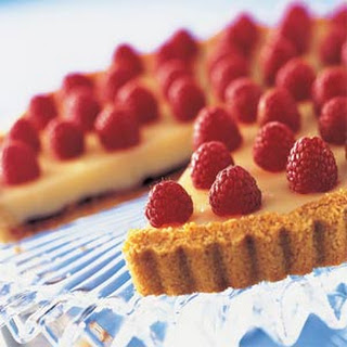 Red-Gold Raspberry White Chocolate Tart.