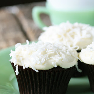 Chocolate Cupcakes with Coconut Cream Cheese Frosting.