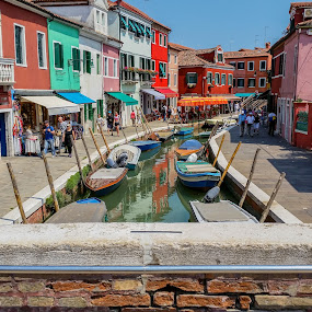 The streets and waters of Burano by Sebastièn Petri - City,  Street & Park  Street Scenes ( water, houses, colorful, colors, boats, street, burano, scenery, italy )