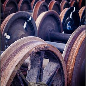 by Sandy Crowe - Artistic Objects Industrial Objects ( industrial, wheels, train, cast iron, steam,  )