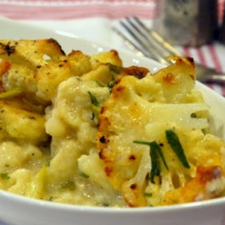 Roasted Spicy Cauliflower & Goat Cheese Gratin