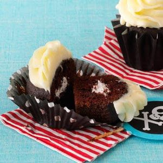 Chocolate Cupcakes with Marshmallow Cream Filling.