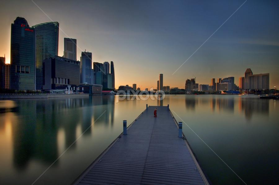 Skyline with long exposure by Ken Goh - City,  Street & Park  Skylines