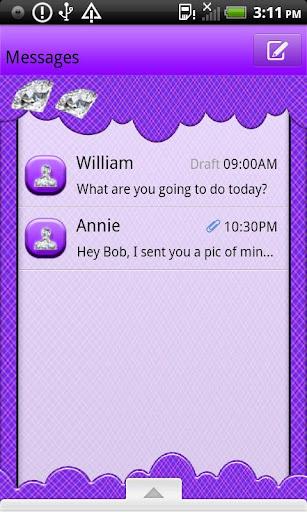 GO SMS THEME DmndPrplPldClud