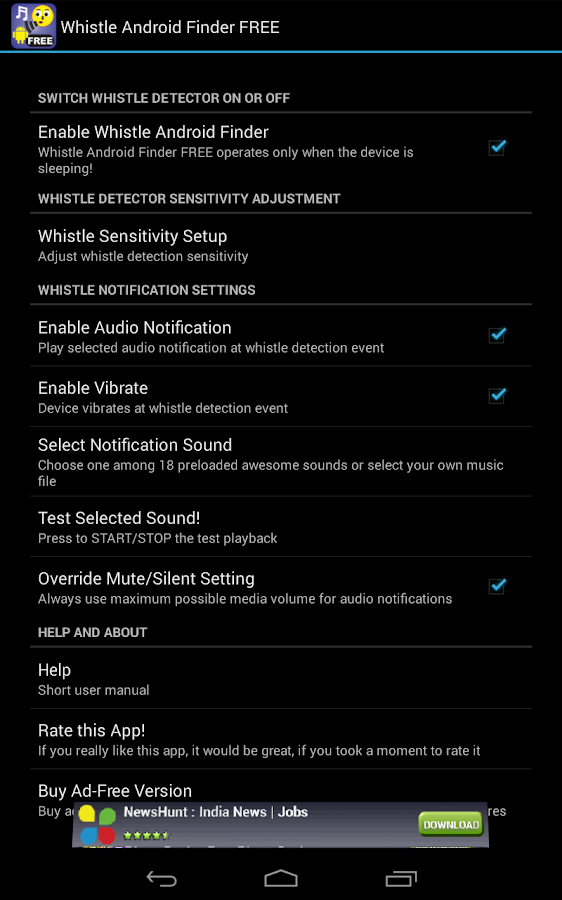 Whistle Android Finder FREE - screenshot