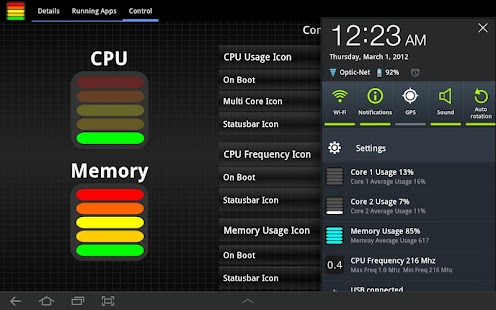 Tablet CPU Usage Monitor - screenshot thumbnail