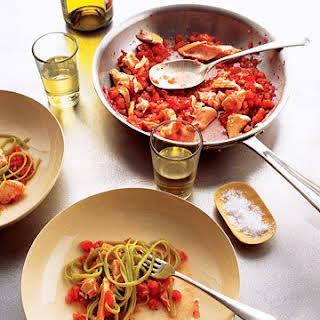 Salmon Pasta with Spicy Tomato Sauce.