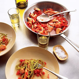 Salmon Pasta with Spicy Tomato Sauce.
