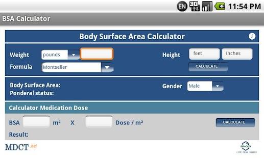 MDCT BSA Calculator- screenshot thumbnail