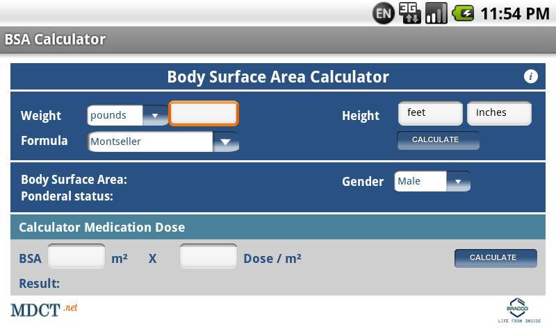 MDCT BSA Calculator- screenshot