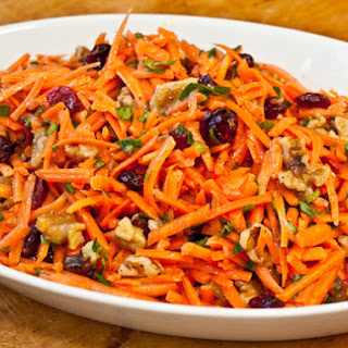 Carrot Slaw with Cranberries and Toasted Walnuts.