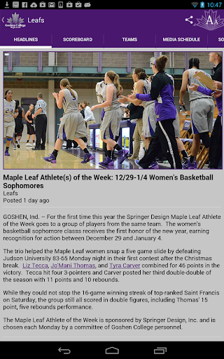 【免費運動App】Goshen College Athletics-APP點子