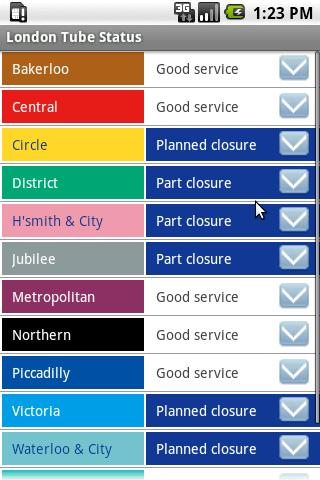 London Tube Status- screenshot