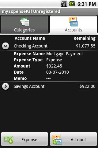 myExpensePal Old - screenshot