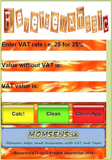 Reverse VAT calc