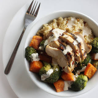 Chicken and Vegetable Quinoa Bowl With Tangy Tahini Dressing.