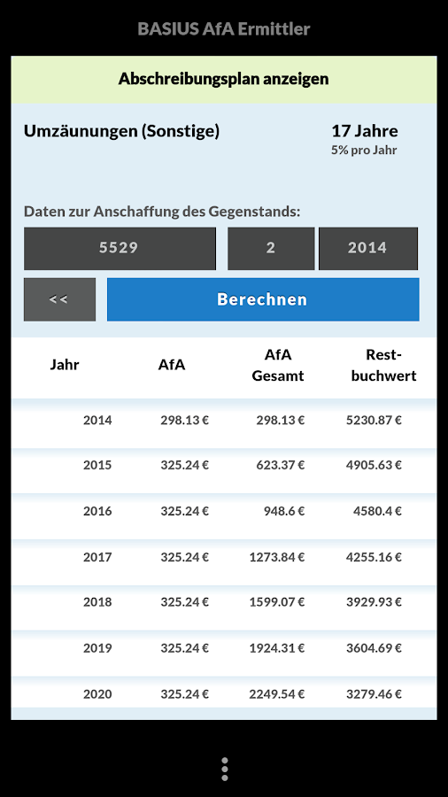 Afa ermittler abschreibung android apps on google play - Afa tabelle 2017 ...