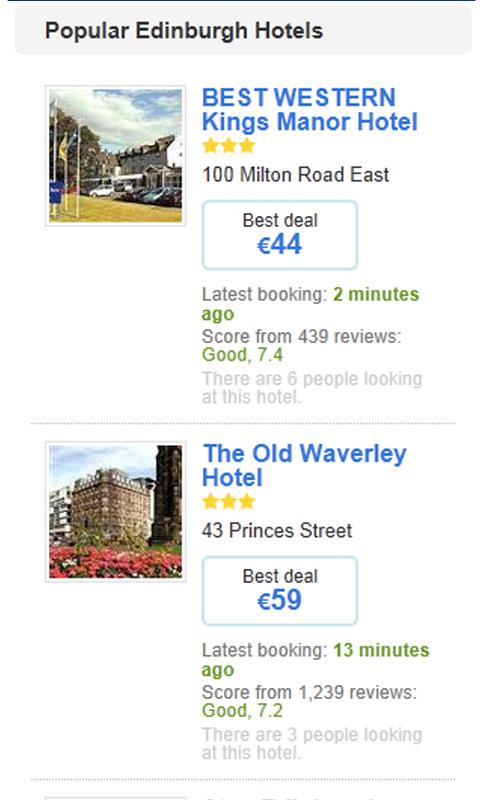 Hotels in Edinburgh- screenshot