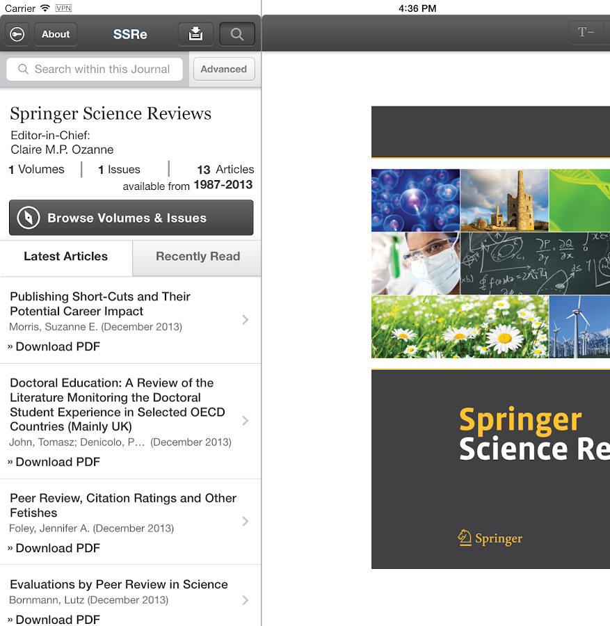 Springer Science Reviews - screenshot