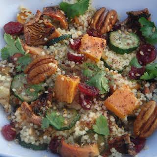 Saffron Couscous with Roast Autumn Vegetables, Pecans, Cranberries and Figs.