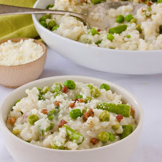 Baked Risotto with Peas, Asparagus & Pancetta