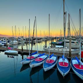 Santa Barbara Marina Sunset by Phil Olson - Transportation Boats ( santa barbara, sunset, boats, marina, sailboat,  )