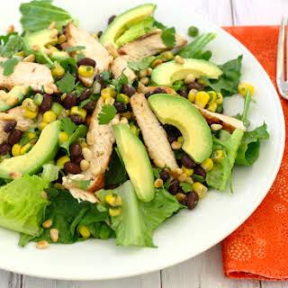 Southwestern Grilled Chicken Salad with Black Bean Salsa.
