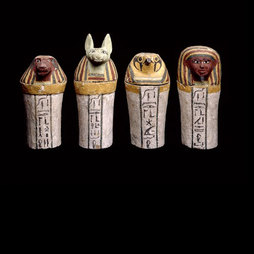 Painted Wooden Canopic Jars Google Arts Culture