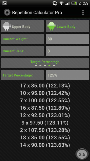 Rep Calc Pro (1 Rep Max)- screenshot