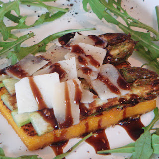 Grilled Polenta with Aparagus, Parmesan and Balsamic Glaze