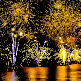 Fire Showers by Darrell Champlin - Public Holidays New Year's Eve