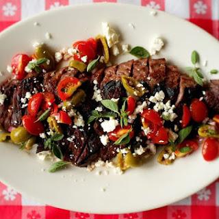 Grilled Skirt Steak with Greek Salsa.