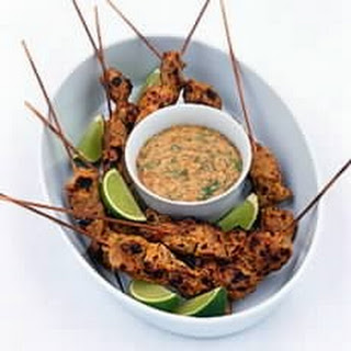 Thai Pork Satay Kebabs with Peanut and Coconut Sauce - sponsored by Singha Beer.