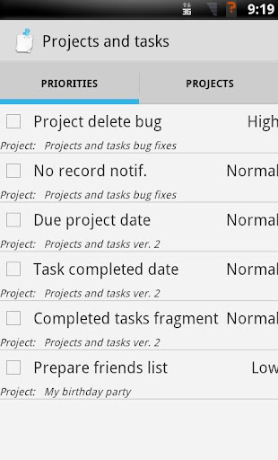Projects and tasks