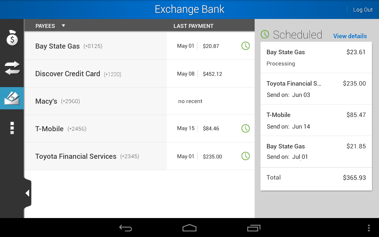 Exchange Bank Mobile- screenshot