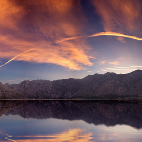 reflection by Zoran Nikolic - Landscapes Cloud Formations ( clouds, hills, reflections, sea, colours )