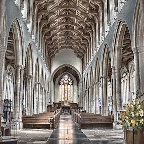 The Arches by Jan Murphy - Buildings & Architecture Places of Worship ( lights, reflection, church, window, aisle, seats, windows, flowers, worship, stained glass, pillars,  )