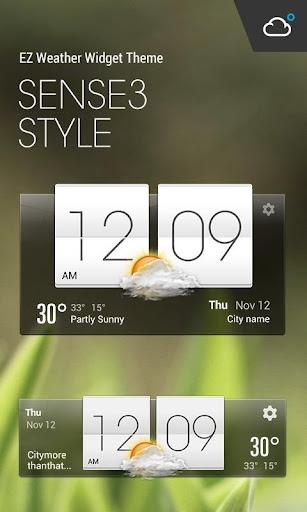 經典Sense風格時鐘天氣小工具﹣琥珀天氣,最贊的天氣小工具