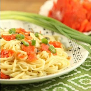Spaghetti with Smoked Salmon Fried Capers and Vodka Cream Sauce.