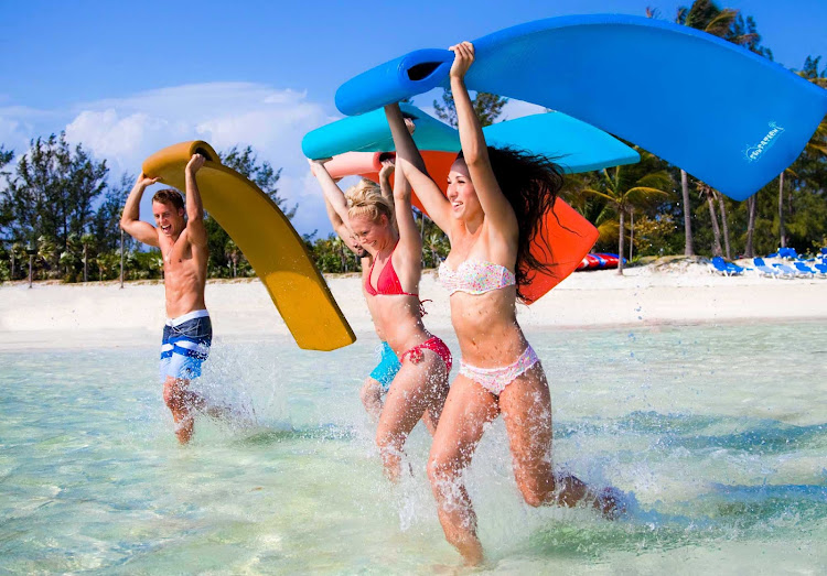 Grab a mat and splash your way to some fun on a Royal Caribbean trip to the tropical island of CocoCay in the Bahamas.