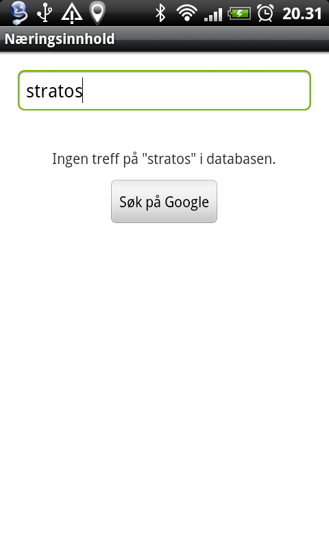 Næringsinnhold- screenshot