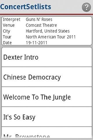 Concert Setlists - screenshot