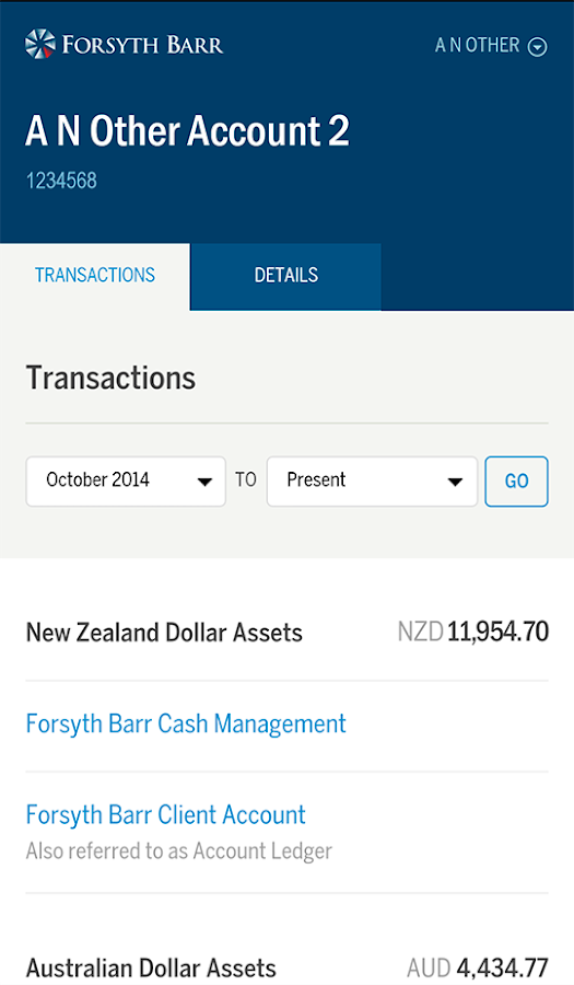 Forsyth Barr Investments App- screenshot