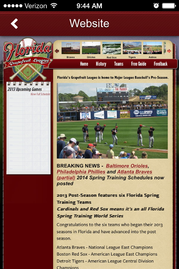 Florida Grapefruit League - screenshot