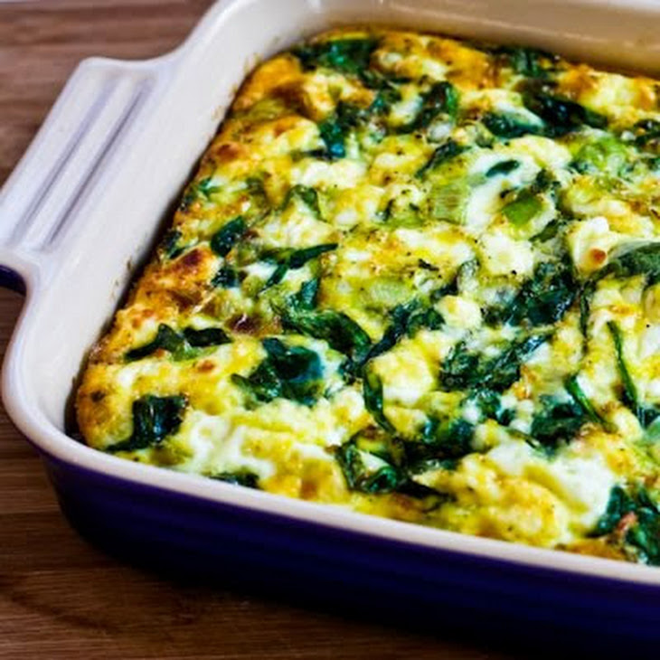 Breakfast Casserole with Spinach, Leeks, Cottage Cheese, and Goat Cheese Recipe