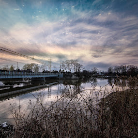 BRIDGE TO SUN by Kris Rowlands - Landscapes Cloud Formations ( fairport harbor, ohio, grand river, photography )
