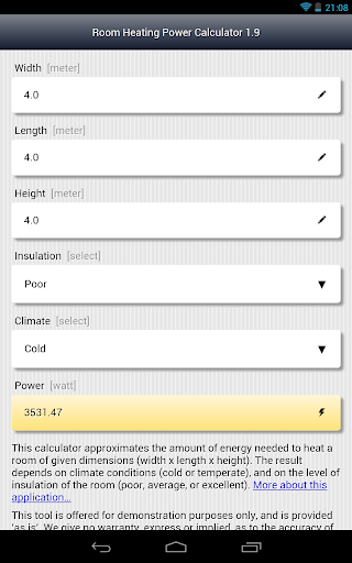 Room Heating Power Calculator