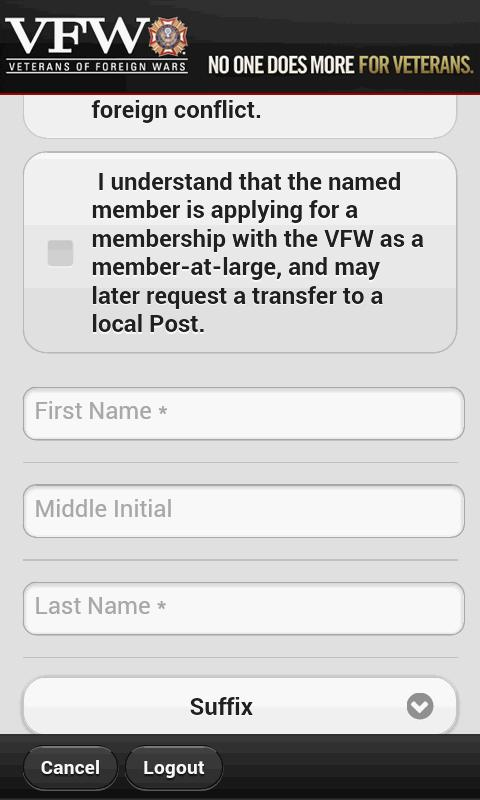VFW Mobile Recruiter - screenshot