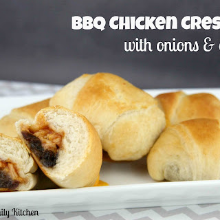 BBQ Chicken Crescents with Onions & Cheddar